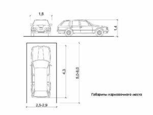Размер стандартного парковочного места для легкового автомобиля