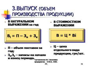 Объем выпуска формула