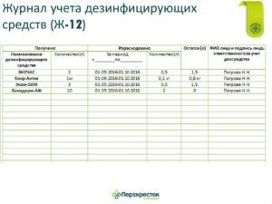 Журнал учета расхода дезинфицирующих средств образец