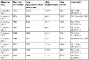Прожиточный минимум на ребенка владимирская область