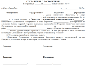 Дополнительное соглашение о расторжении договора от какого числа