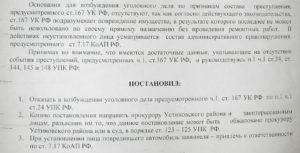 Копия постановления о возбуждении уголовного дела