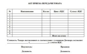 Акт приема передачиобразец на принятые материалы