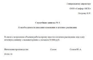Обоснование штатного расписания образец
