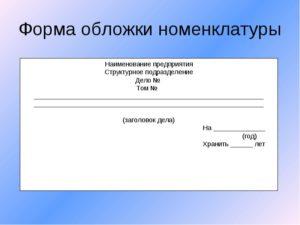 Образец оформления папки с документами по номенклатуре
