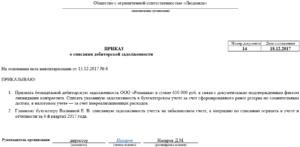 Приказ о списании дебиторская задолженность при ликвидации
