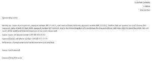 Спонсорское письмо для визы в японию образец на английском