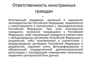 Порядок привлечения к ответственности иностранных граждан по законодательству россии