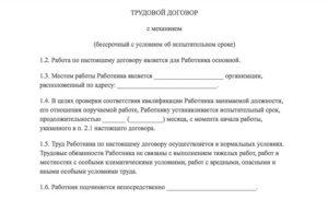 Образец трудового договора механика по автотранспорту