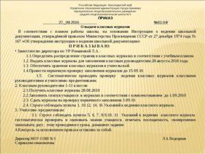 Приказ директора школы о проверке дневников классными руководителями