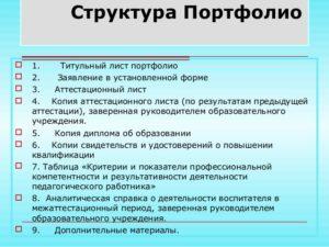 Аттестация воспитателей на 1 категорию папка образец составления